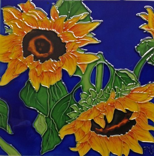 Continental Art Center BD-0500 8 by 8-Inch Two Sunflowers with Blue Background Ceramic Art -