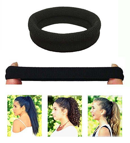 No Slipping Damage Breaking or Stretching Out. Seamless Ponytail Holders  Scrunchies Sports Hair Ties for Thick Hair (Black ... dab54035f53