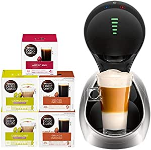 Nescafe Dolce Gusto Movenza Coffee Machine, Silver + 5 Capsule Boxes (80 Capsules)
