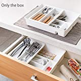 Kitchen Drawer Organizer with Double Layer Tray, Plastic Tray Kitchen Separate Tool Drawer Storage Organizer for Storage and Organising Cutlery