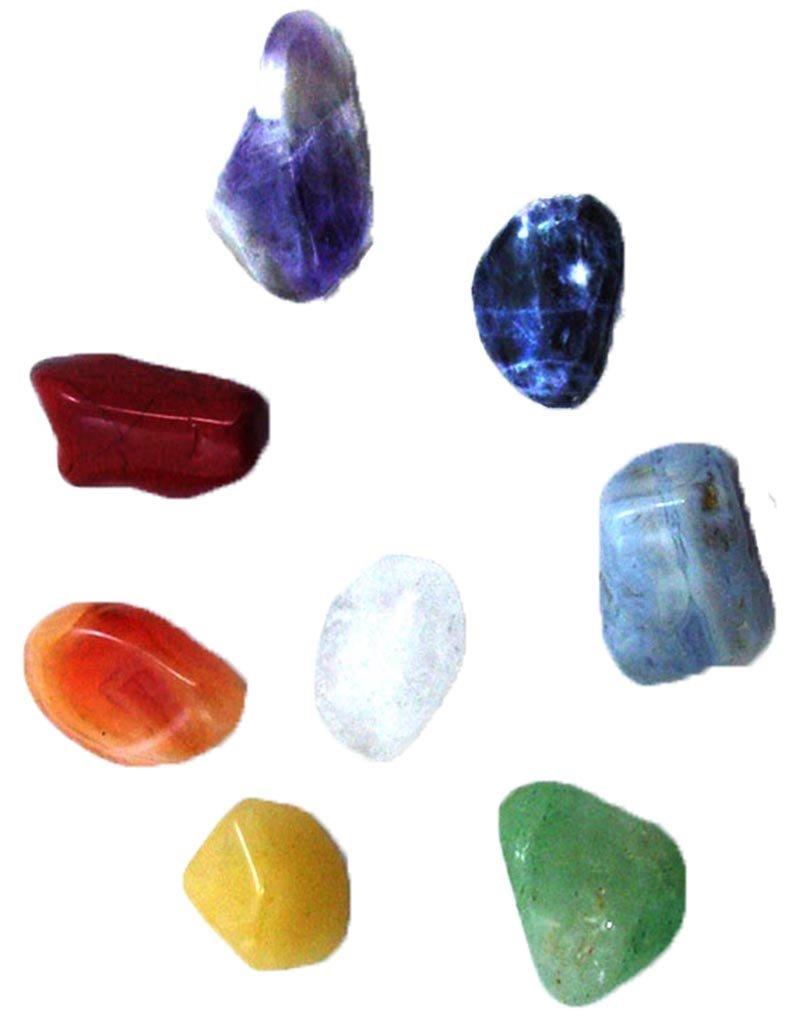 7 Chakra +Quartz natural stone healing kit + chart & selenite palm stone