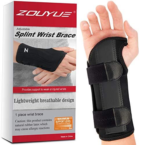 Carpal Tunnel Wrist Brace, Night Sleep Wrist Support, Removable Metal Wrist Splint for Men, Women, Right Hand…