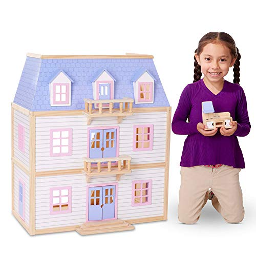 Melissa & Doug Modern Wooden Multi-Level Dollhouse (19 Pieces, White, 28
