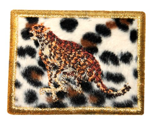 ID #9051 Gold Framed Cheetah Cat with Fuzzy Animal Print Iron On Applique Patch