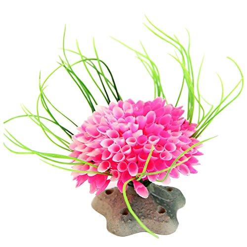 (Futemo Multicolored Ball Landscaping Plants, Artificial Coral PlantOrnamental Aquatic Plastic Aquarium Modeling Decoration (Pink))