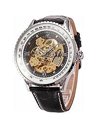 KS Royal Carving Luxury Automatic Mechanical Skeleton Mens Black Leather Wrist Watch KS110