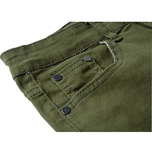 Denim Slim Vintage Fashion Cargo Giovane Strappato Pantaloni Da Pants Uomo Skinny Biker Black03 Casual Jeans Unita Tinta AOqgxw