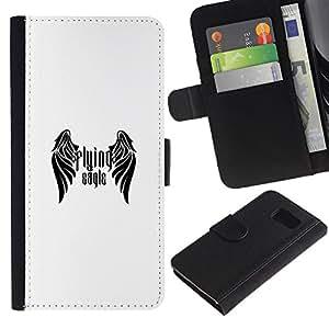 YiPhone /// Tirón de la caja Cartera de cuero con ranuras para tarjetas - Flying Eagle - Samsung Galaxy S6