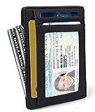 Eavann Mens Minimalist Leather Wallets RFID Blocking Secure ID Window Cards Holder (7 Card Slots)