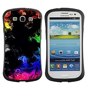 LASTONE PHONE CASE / Suave Silicona Caso Carcasa de Caucho Funda para Samsung Galaxy S3 I9300 / Fire Flames Black Rainbow Colorful