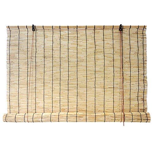 Bamboo Blinds Natural Large Roller Blind Hand-Woven Reed Curtain Shade Curtain Waterproof and Ventilated, Restaurant Decorations Elegant and Beautiful, Customizable ()
