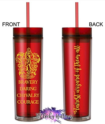 Gryffindor Lion House Traits - School of Wizards - 16oz Acrylic Tumbler - Skinny Tumbler - Fairest of them all - Gift - Wizard - BPA Free - Cup