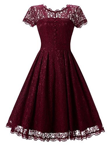 GlorySunshine Women's Retro Floral Lace Short Sleeve A-line Dress Wine XL