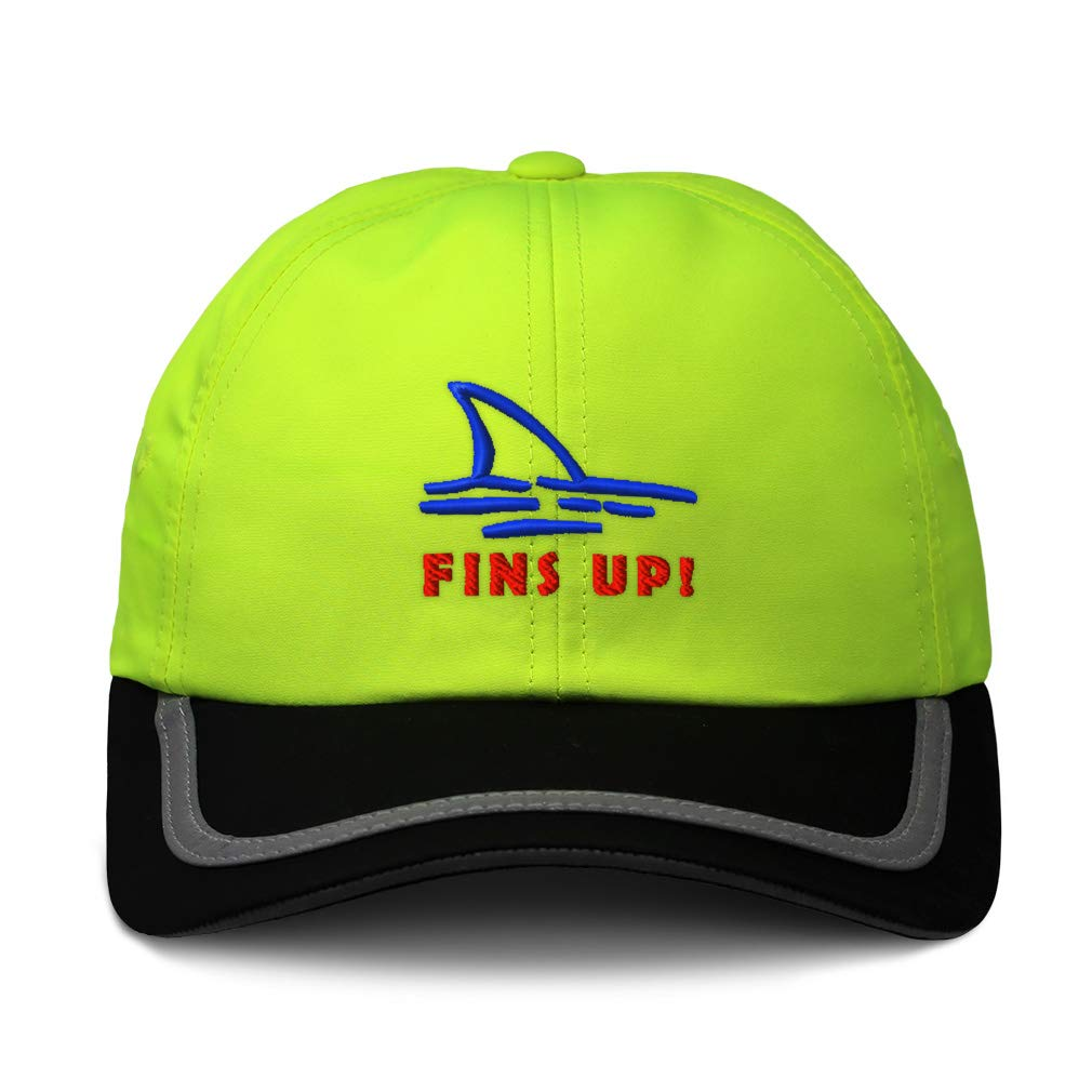 Custom Reflective Running Hat Fins Up Shark Embroidery Polyester One Size