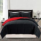 Red and Black Comforter Set 3 piece Luxury Bright Red / Black Reversible Goose Down Alternative Comforter set, Full / Queen with Corner Tab Duvet Insert