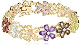 Yellow Gold-Plated Sterling Silver Multi-Gemstone Flower Bracelet, 7.25""