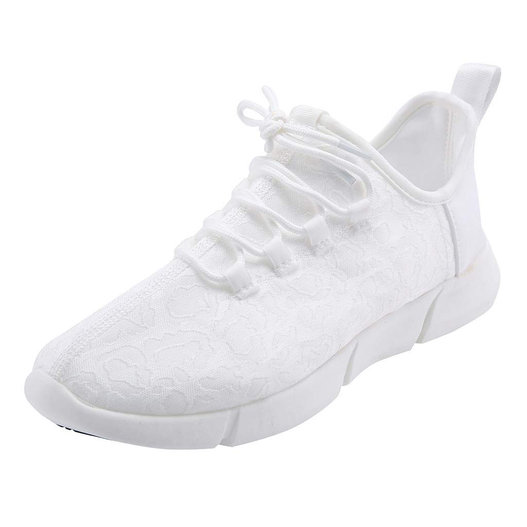 ℱLOVESOOℱ Couple Lace-Up Sneakers with Led Light Unisex Colorful Flash Casual Shoes Quick-Drying Breathable Runing Shoes White