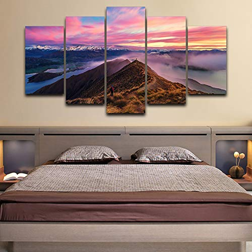 40x60 40x80 40x100cm No Frame Frame Home Decor Living Room Wall Picture 5 Panel Mountains Sunset Dusk Scenery Painting Modular HD Printed Canvas Poster