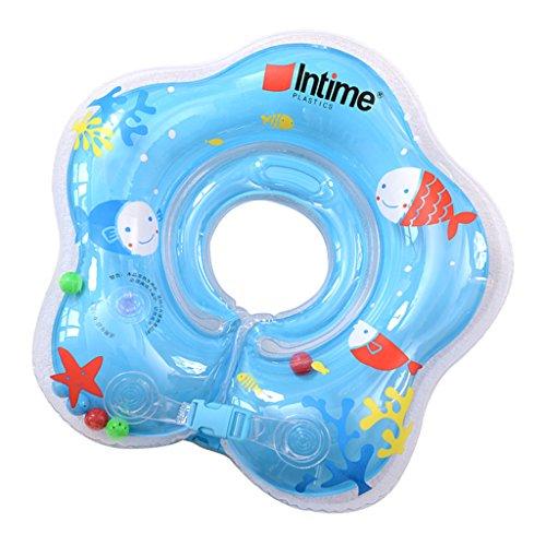 MagiDeal 1 Pieza Anillo Pez Inflable de Seguridad de Flotador de Cuello Accesorios de Baño de Bebé - azul