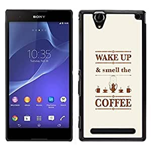"""Pulsar Snap-on Series Teléfono Carcasa Funda Case Caso para Sony Xperia T2 Ultra , Despertador Cita Marrón texto"""""""