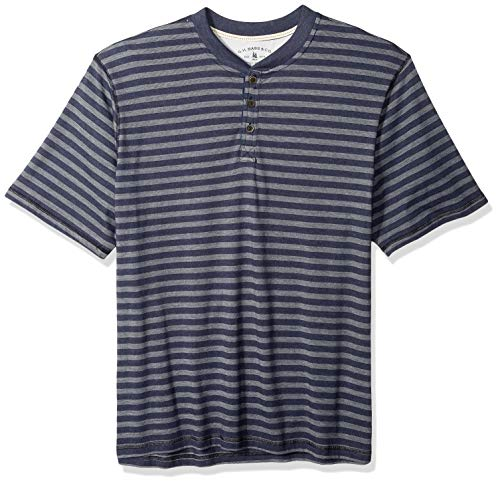 G.H. Bass & Co. Men's Big and Tall Madawaska Short Sleeve Feeder Stripe Henley Shirt, Mood Indigo Heather, 4X-Large - Indigo Ribbed Jeans