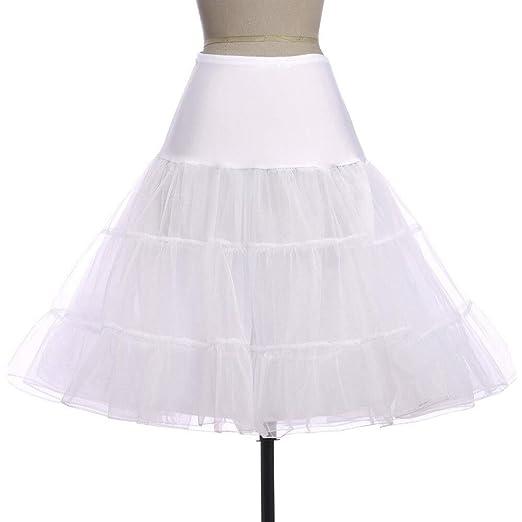 Huisongda Falda de Las señoras Color sólido Tutu Midi Falda for la ...