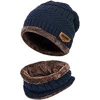 Kata Beanie Hat Scarf Set Thick Knit Hat Warm Fleece Lined Scarf Warm Winter Hat For Men & Women