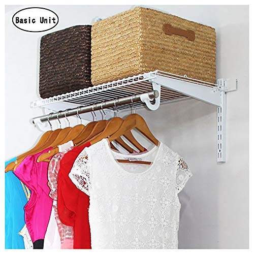 Wall Hanging Closet Shelves DIY Custom Closets Storage System Easy Wire Modular Clothes Organizer Walk in Closet Configuration Design with Shelf Rod Bracket Hook (Best Diy Closet Systems)