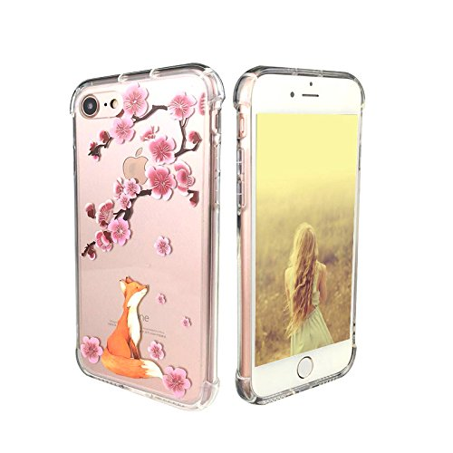 iPhone 7 Case, iPhone 8 Case, Ftonglogy Floral Flower Pattern Printed Clear Design Transparent Plastic Hard Back with Air Cushion Shockproof TPU Bumper Protective Case for Girls (fox cherry blossoms)