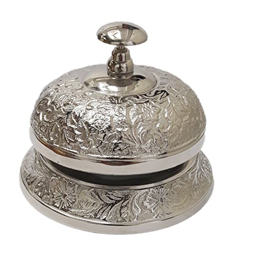 PARIJAT HANDICRAFT Hand Held Service Call Bell 5'' L . Aluminium Call Bell Ideal Gift for Home Office, School, Teacher, Nautical, Aluminium Desk Bell by PARIJAT HANDICRAFT