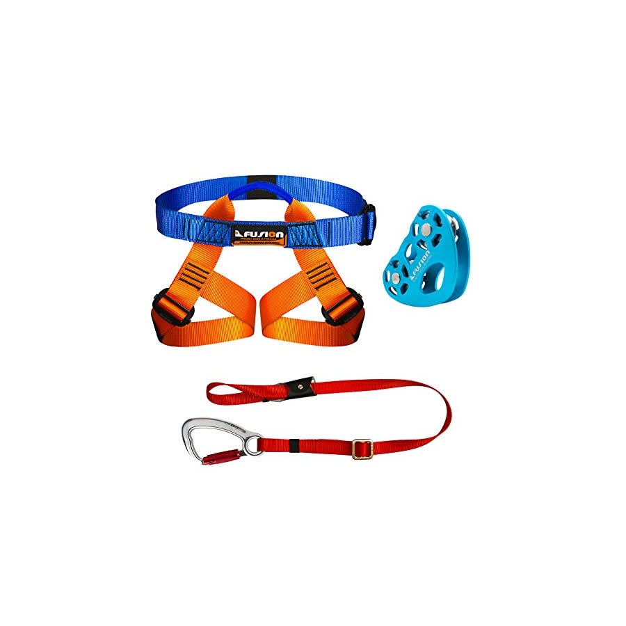 Fusion Climb Kids Backyard Zip Line Kit Harness Lanyard Trolley Bundle FK K HLT 01