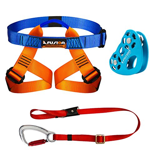 Fusion Climb Kids Backyard Zip Line Kit Harness Lanyard Trolley Bundle FK-K-HLT-01 by Fusion Climb