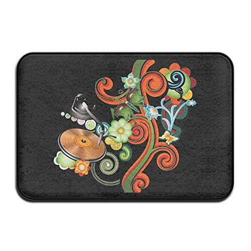 Door Mat Music Disc Non-Slip Stain Fade Resistant Soft Living Dining Room Rug for Front Door Entrance Outside Doormat 23.6×15.7×0.39Inch