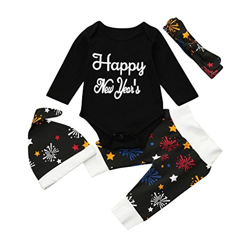Winsummer Newborn Baby Girl Boy Christmas New Year Outfits Clothes Cotton Romper+Pants+Hat+Headband (0-3M, Black) -