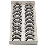 GCIYAEN 10 Pair/Lot Thick Long Crisscross False Eyelashes Fake Eye Lashes Flexible Wispy False lashes for Beautiful Natural Looking Black