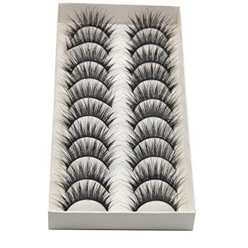 10 Pair/Lot Thick Long Crisscross False Eyelashes Fake Eye Lashes Flexible Wispy False lashes for Beautiful Natural Looking Black
