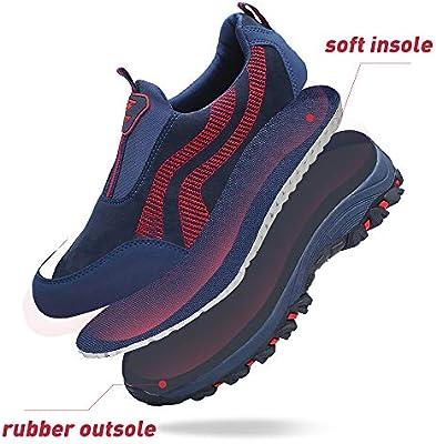 PAMRAY Zapato Hombre de Deportivos Fitness para Caminar Running Trailing Loafer Calentar Suede Zapatillas Slip on Breathable Negro Azul Gris Azul 44: Amazon.es: Deportes y aire libre