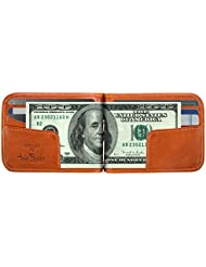 Luggage Depot USA, LLC Tony Perotti Italian Leather Bifold Money Clip Wallet Credit Card Slots, Honey