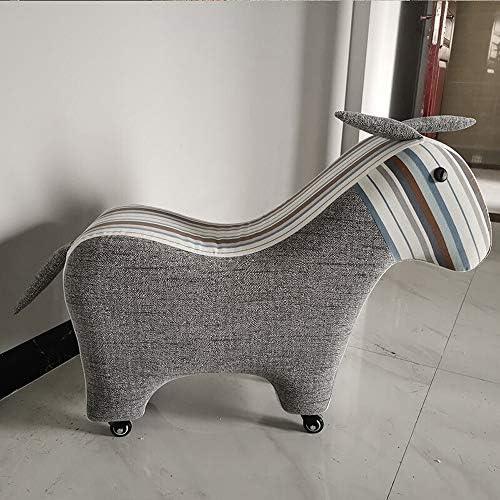 収納ベンチ ホーム靴スツール着用靴スツールソファスツール靴スツールフットスツール低スツールクリエイティブかわいい動物ポニースツール 柔軟 多用途 (Color : Gray, Size : 73x27x57cm)