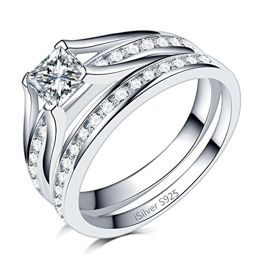 iSilver 2.0 Carat Princess Cut Wedding Engagement Ring, 925 Sterling Silver Stainless Steel