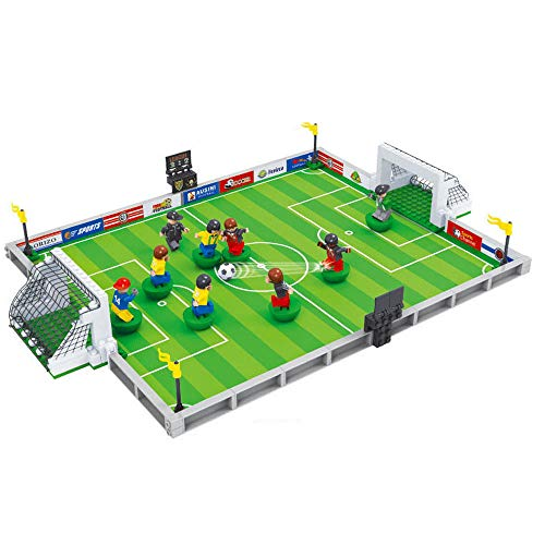 CHTH Soccer Game Building Bricks Toy Set Soccer Gameday Field Set,9pcs Mini Figure Gift for a boy Over 6 Years Old