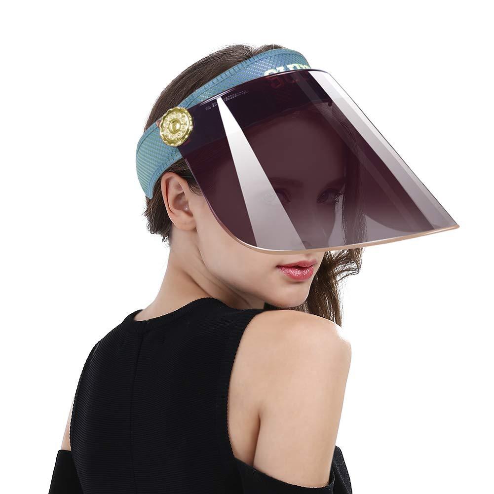 Women Anti-UV Visor Hat UPF40+ Solar Full Face Plastic Shield Headband Sun Protection Riding Cap (Blue)