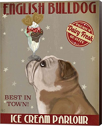 English Bulldog Ice Cream by Fab Funky Canvas Art Wall Picture