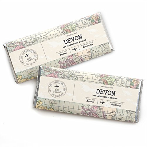- Custom World Awaits - Personalized Travel Themed Party Favors Candy Bar Wrappers - Set of 24
