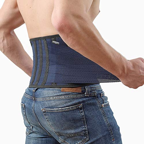 Back Support Lower Back Brace provides Back Pain Relief - Breathable Lumbar Support Belt for Men and Women keeps your Spine Straight and Safe (Medium - 32''- 37