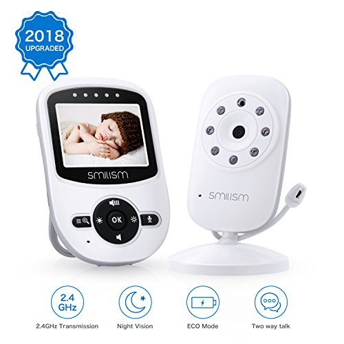 video baby monitor with camera 2018 upgraded night vision two way talk audio temperature. Black Bedroom Furniture Sets. Home Design Ideas