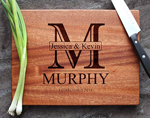 Personalized Engraved Custom Cutting Board - Walnut, Sapele or Maple - Monogram Letter Elegant Classic Name Design For Holidays Celebration Gift - Handle + Stainless Steel Display Stand Available #78