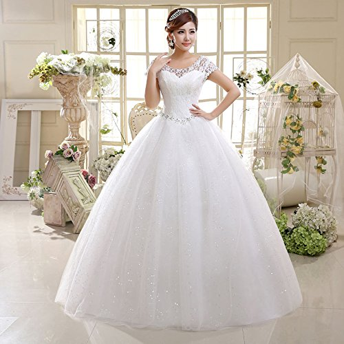 059c0fcc9c Image Unavailable. Image not available for. Color  spyman Nice new wedding  dress Korean version of the shoulder Slim wedding large size bride lace