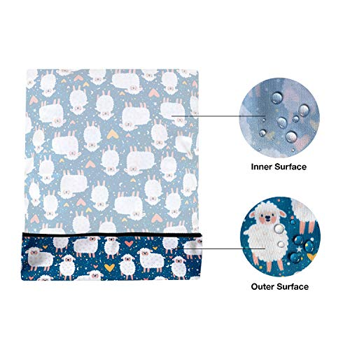 FLOCK THREE Waterproof Wet Bag Reusable for Wet Clothes Baby Diapers Stroller Swimsuit Travel Washable toiletries Pouch Large Electronics case 12.6'' x 16.5'' (Sheeps)