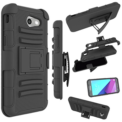 For Samsung Galaxy J3 Emerge Case, J3 Prime / J3 Eclipse / J3 2017 / J3 Luna Pro / Sol 2 / Amp Prime 2 / Express Prime 2 Cover, Zoeirc Shock Proof Dual Layer with Kickstand & Belt Clip Holster (black)
